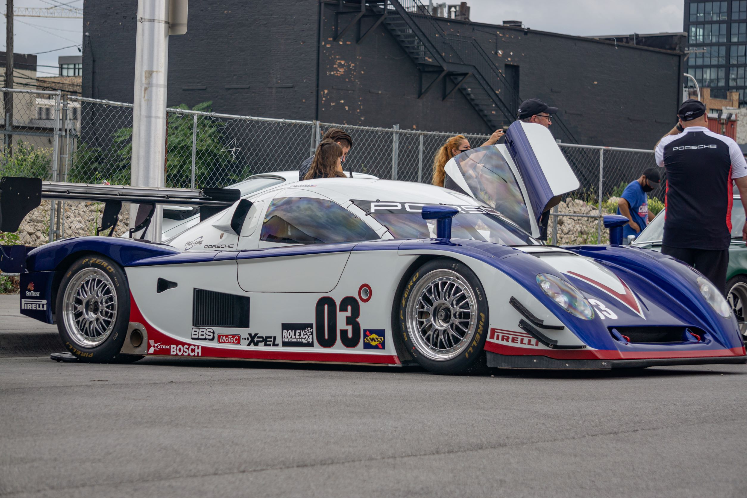 Fall-Line Motorsports' white-blue-and-red Porsche Crawford Daytona Prototype at Checkeditout