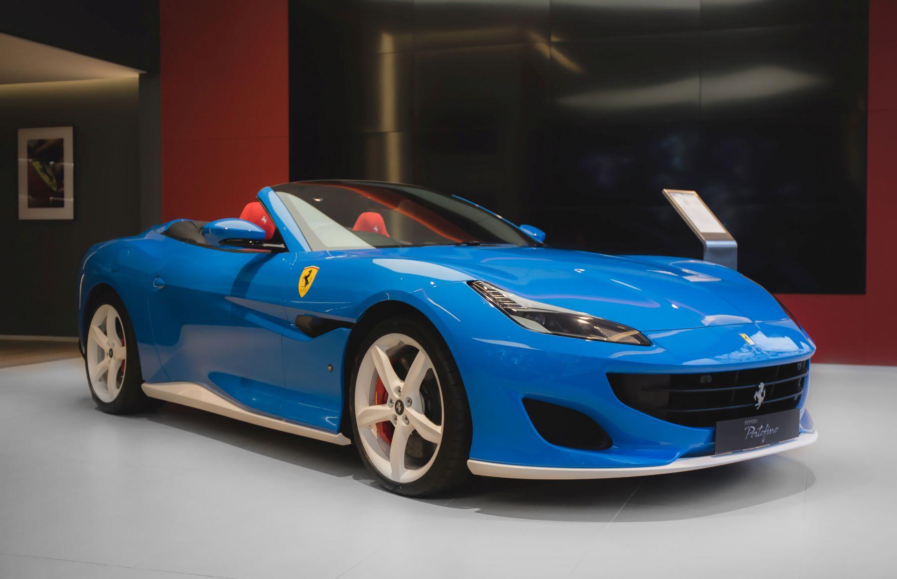 The Ferrari Portofino in Berkeley Square, London, England