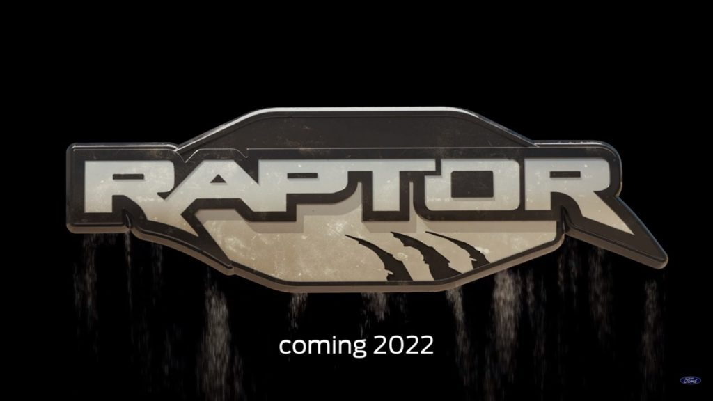 Ford Bronco Raptor logo with coming 2022 tagline