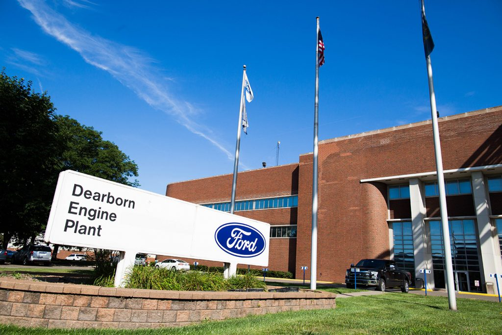 Ford Engine Plant in Dearborn Michigan. Employees here may be required to reveal COVID vaccination status
