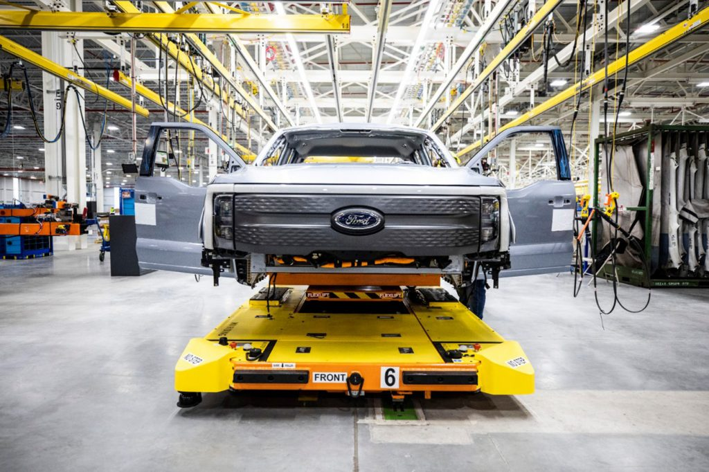 Ford F-150 Lightning chassis in a factory