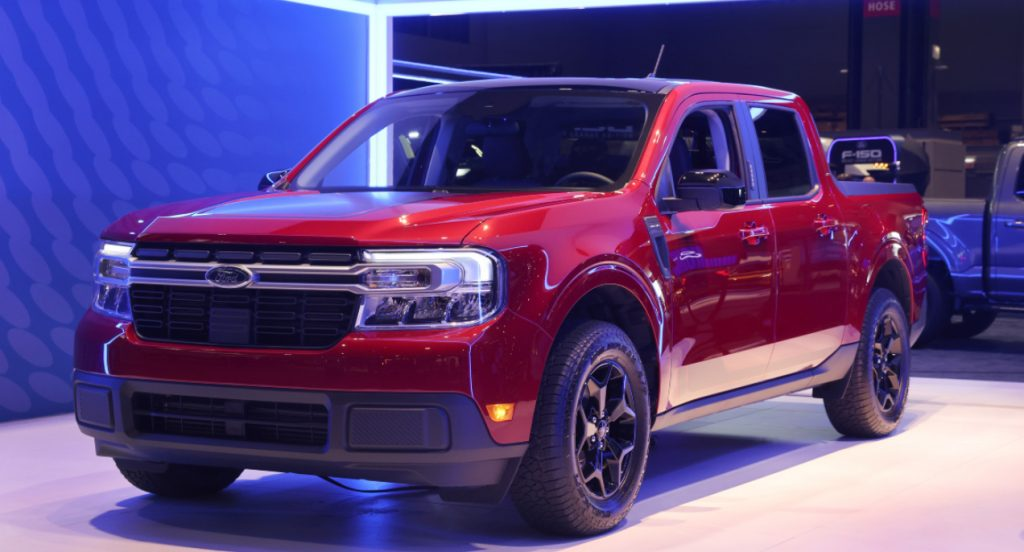 A new red Ford Maverick truck is introduced to the media at the Chicago Auto Show on July 14, 2021 in Chicago, Illinois.