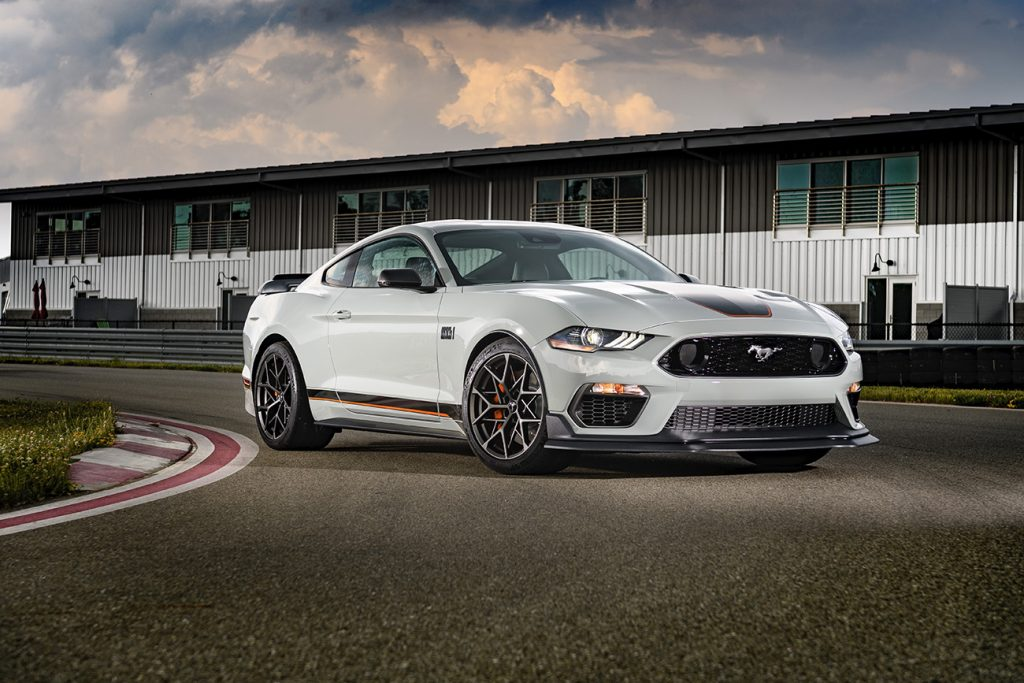 2021 Ford Mustang Mach 1 similar to the car used in the drag race video in this article