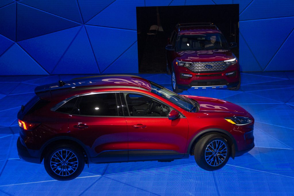 The Ford Mustang Mach-E electric SUV and Ford Explorer hybrid at AutoMobility LA in November 2019