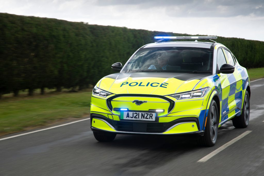 A Ford Mustang Mach-E police car at Safeguard SVP, Earls Colne, U.K., in August 2021