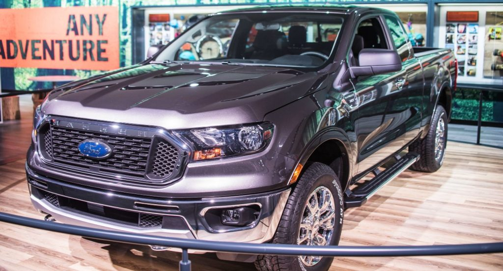 A gray Ford Ranger XLT is on display during North American International Auto Show at Cobo Center in Detroit, MI, United States on January 15, 2018.