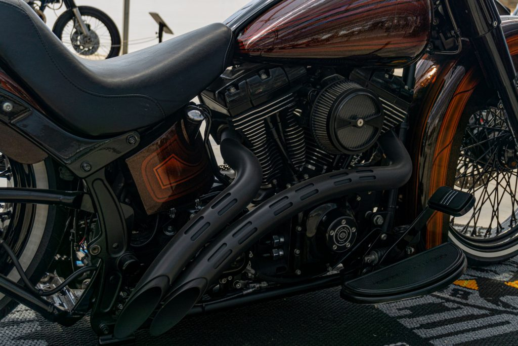 A closeup view of Fornarelli Motorsports' custom 2010 Harley-Davidson Fat Boy Lo's V-twin engine and exhaust