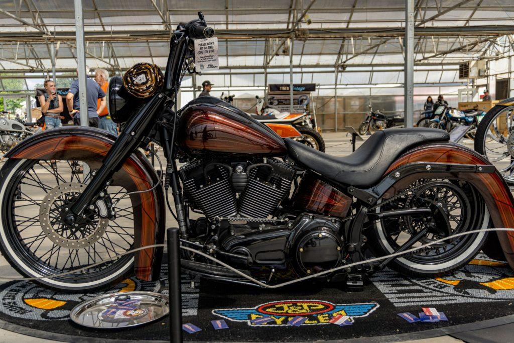 Fornarelli Motorsports' custom brown-and-black 2010 Harley-Davidson Fat Boy Lo left side view