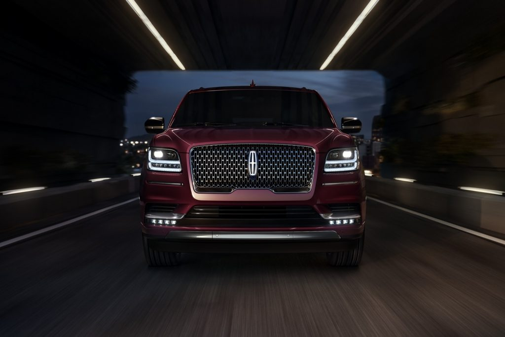 Front view of maroon 2021 Lincoln Navigator