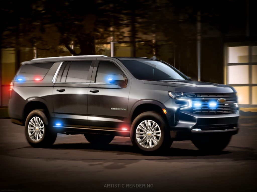 An artist rendering of a dark Chevy Suburban with red and blue lights.