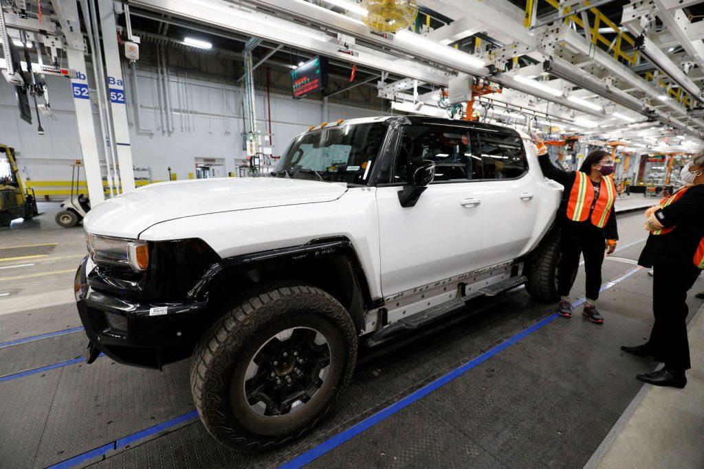 A GMC Hummer EV truck at General Motors Factory Zero in Detroit, Michigan