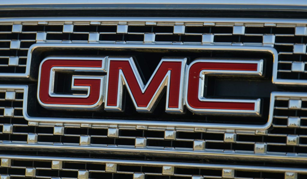 GMC logo on the front of a grille.