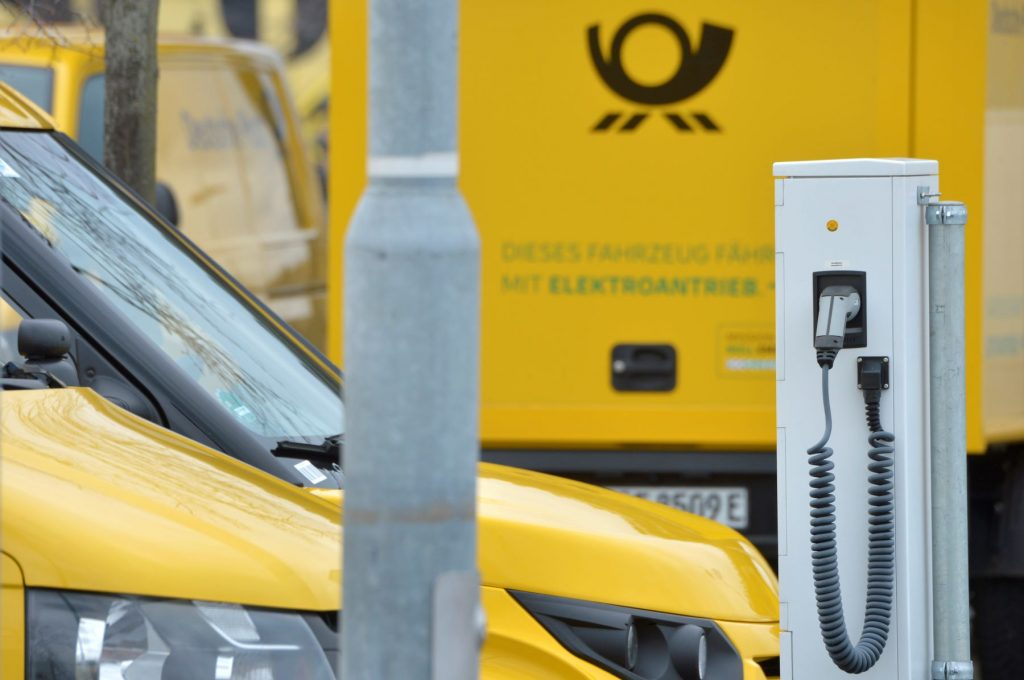 German company Deutsche Post's StreetScooter electric transporter charging stations