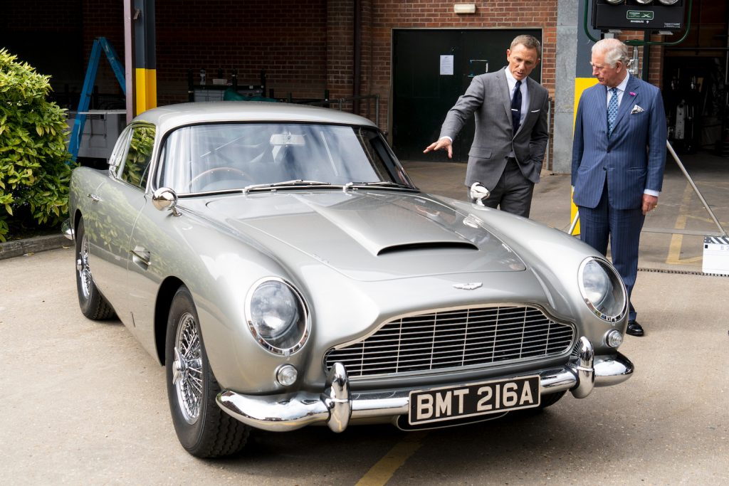 IVER HEATH, ENGLAND - JUNE 20: Prince Charles (R), Prince of Wales meets British actor Daniel Craig as he tours the set of the 25th James Bond Film at Pinewood Studios on June 20, 2019 in Iver Heath, England. They discuss James Bond's classic cars. The Prince of Wales, Patron, The British Film Institute and Royal Patron, the Intelligence Services toured the set of the 25th James Bond Film to celebrate the contribution the franchise has made to the British film industry. (Photo by Niklas Halle'n - WPA Pool/Getty Images)