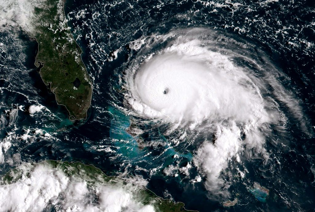 A satellite image of Hurricane Dorian as it approaches the Florida coast