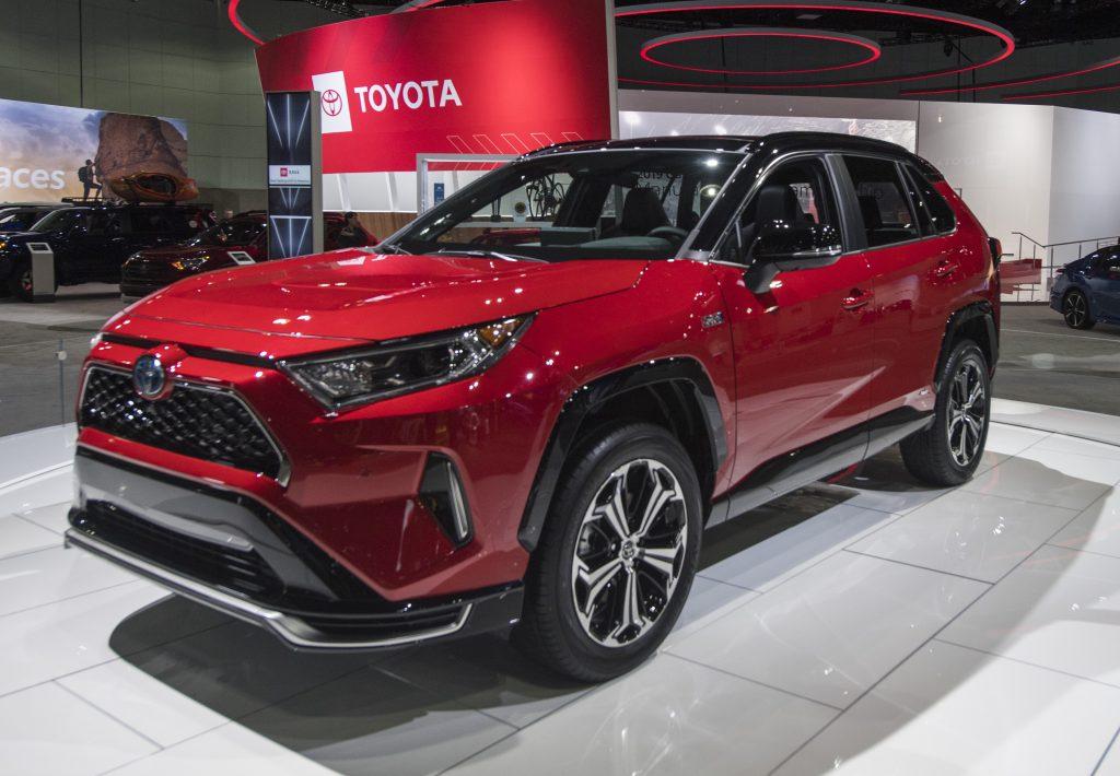 A red 2021 Toyota Rav4 Prime.