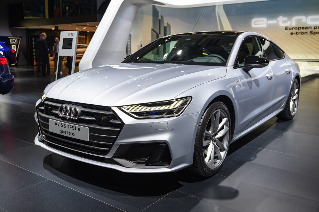 A silver Audi A7 sedan shot from the high 3/4 angle