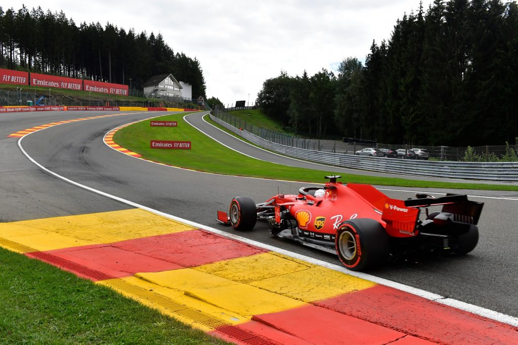 Ferrari Formula 1 driver Sebastian Vettel makes his way into the famous Eau Rouge/Raidillon complex at Spa Francorchamps in Belgium