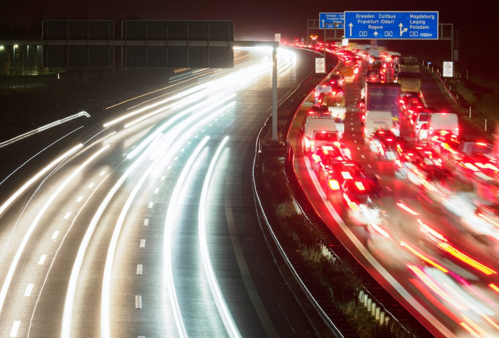 17 December 2020, Brandenburg, Schönefeld: After a traffic accident on the A113 motorway, a long traffic jam has formed on the three lanes in the direction of Dresden between Waltersdorfer Dreieck and Schönefelder Kreuz and is only slowly clearing. Photo: Soeren Stache/dpa-Zentralbild/ZB (Photo by Soeren Stache/picture alliance via Getty Images) Traffic jams are a major danger while setting the cannonball record.