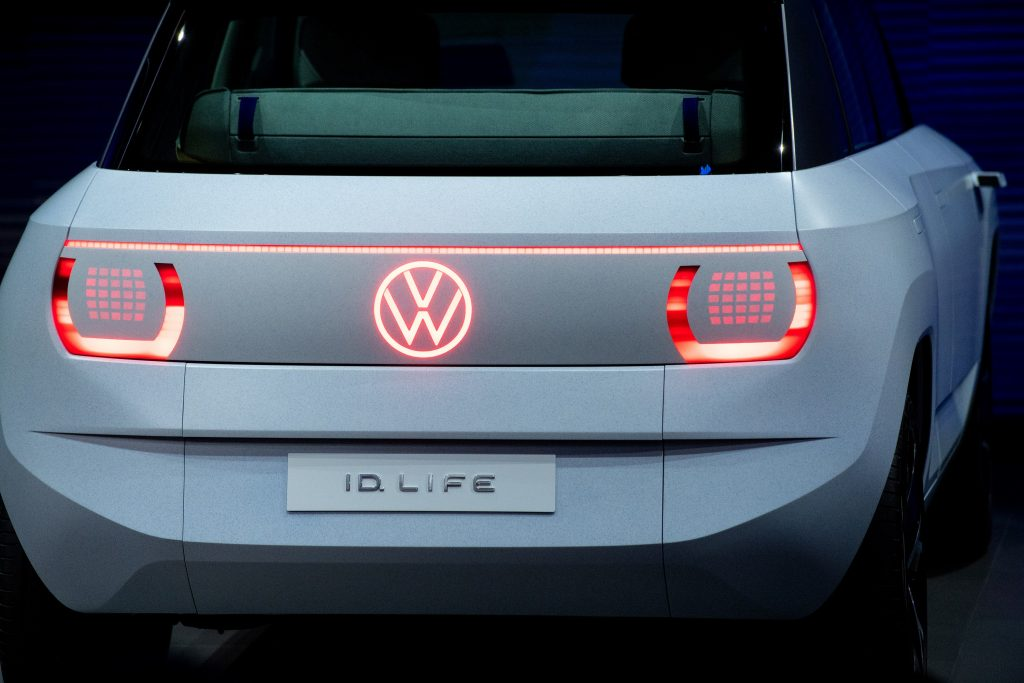 The rear taillights of the white ID.Life concept car