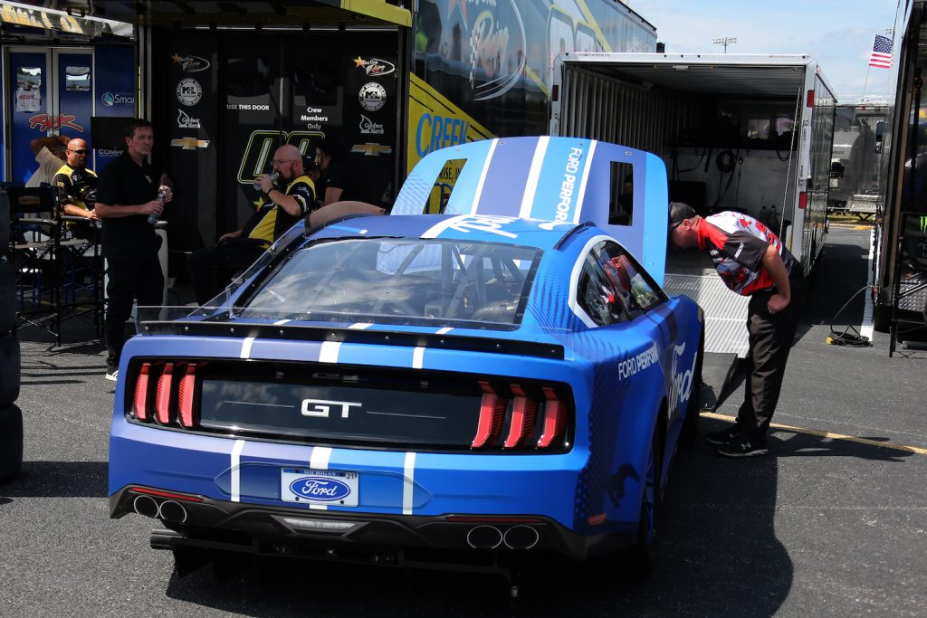 The 2022 NextGen Ford Mustang on display at the NASCAR Cup Series Cook Out Southern 500 in Darlington, South Carolina. The NASCAR Next Gen Engine will make 725 horsepower, hundreds more horsepower than current engines. | Jeff Robinson/Icon Sportswire via Getty Images