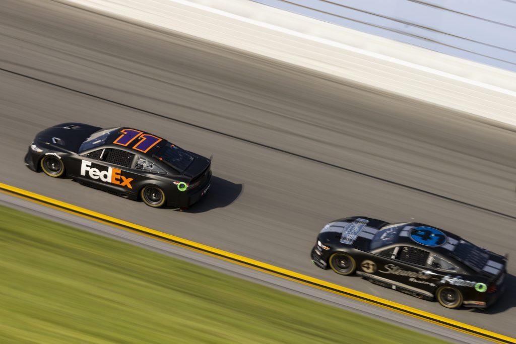 Denny Hamlin and Cole Custer testing NASCAR's Next Gen cars at Daytona International Speedway. The NASCAR Next Gen transaxle will change the sport.  James Gilbert/Getty Images