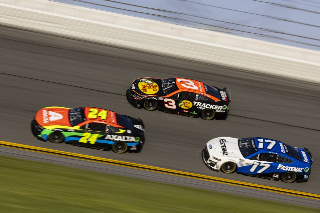 DAYTONA BEACH, FLORIDA - SEPTEMBER 07: Austin Dillon, Driver of the #3 NASCAR Next Gen car, William Byron, Driver of the #24, and Chris Buescher, Driver of the #17, drive during the NASCAR Cup Series test at Daytona International Speedway on September 07, 2021 in Daytona Beach, Florida. (Photo by James Gilbert/Getty Images). NASCAR Next Gen Cars Are More Stock Than Current Cars