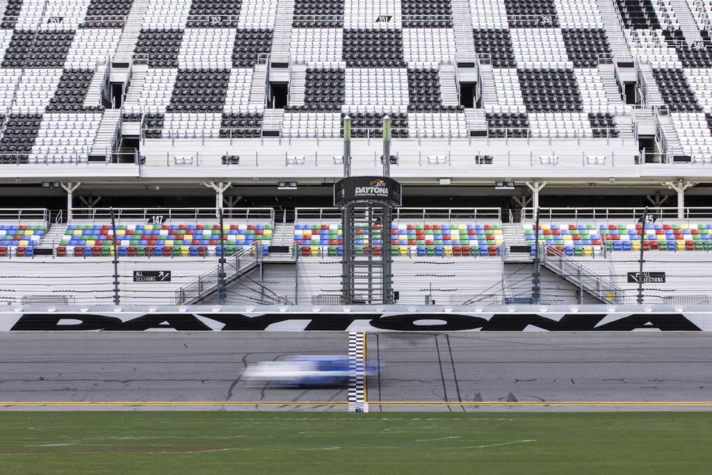 DAYTONA BEACH, FLORIDA - SEPTEMBER 07: Chris Buescher, Driver of the #17 NASCAR Next Gen car, drives during the NASCAR Cup Series test at Daytona International Speedway on September 07, 2021 in Daytona Beach, Florida. (Photo by James Gilbert/Getty Images) Next Gen NASCAR car.