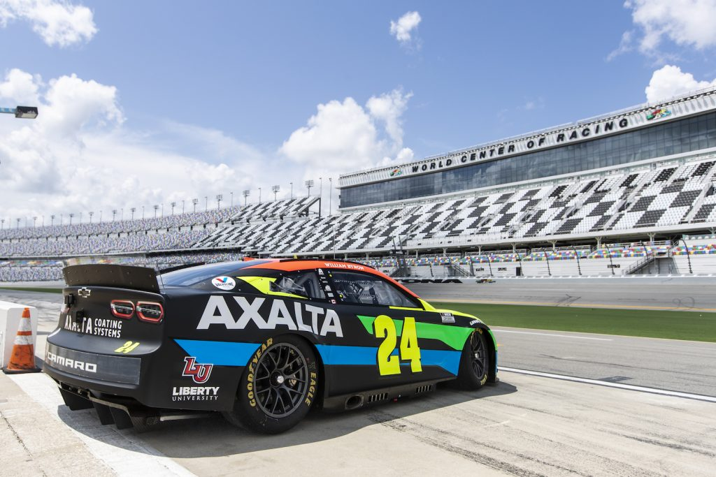 William Byron's #24 NASCAR Next Gen car, drives onto the track during the NASCAR Cup Series test at Daytona International Speedway on September 07, 2021 in Daytona Beach, Florida. The Nascar Next Gen rearview camera is highlighting a generational divide between Byron and older drivers.   Photo by James Gilbert/Getty Images
