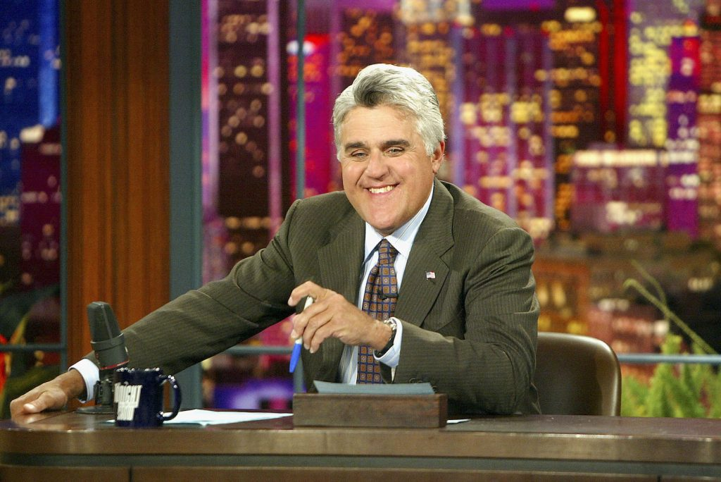 """BURBANK, CA - JULY 7:  Jay Leno on """"The Tonight Show with Jay Leno"""" at the NBC Studios on July 7, 2004 in Burbank, California. (Photo by Kevin Winter/Getty Images) Jay Leno"""