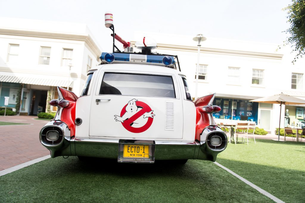 The original Ectomobile at Sony Pictures Studios. The Ghostbusters car, known as the ectomobile or ecto 1, is based on a 1959 Cadillac ambulance, a hearse in the movie. The original film car survives to this day and will appear in Ghostbusters: Afterlife. | Emma McIntyre/Getty Images