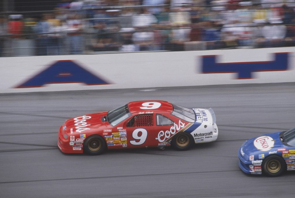 Bill Elliott driving the Coors Ford Thunderbird #9 car. In 1987 Bill Elliott would set a top-speed NASCAR record while qualifying at Talladega that would last for over thirty years.   Photo by Focus on Sport/Getty Images