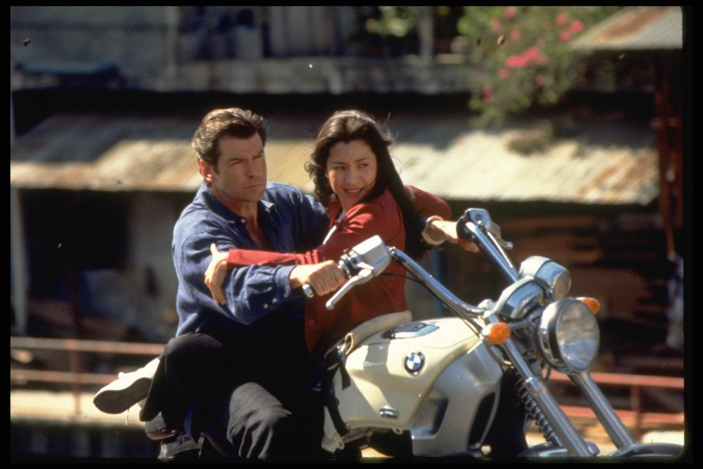 Tomorrow Never Dies motorcycle chase. Moto GP champion Casey Stoner ranked this Pierce Brosnan James Bond / 007 chase as one of the least realistic motorcycle scenes   Keith Hamshere/Sygma via Getty Images
