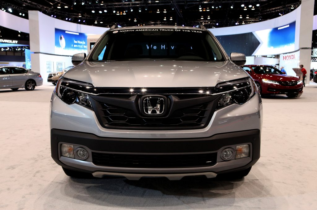 Silver Honda Ridgeline is on display at the 109th Annual Chicago Auto Show at McCormick Place in Chicago, Illinois.