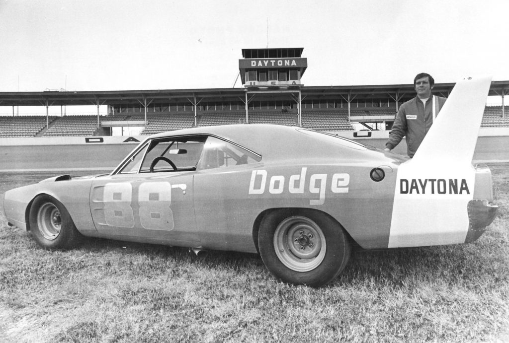 Buddy Baker and his 200 mph #8 Chrysler Engineering Dodge Daytona. He set the overall speed record at Talladega Superspeedway, NASCAR's fastest track. | Photo by ISC Archives/CQ-Roll Call Group via Getty Images