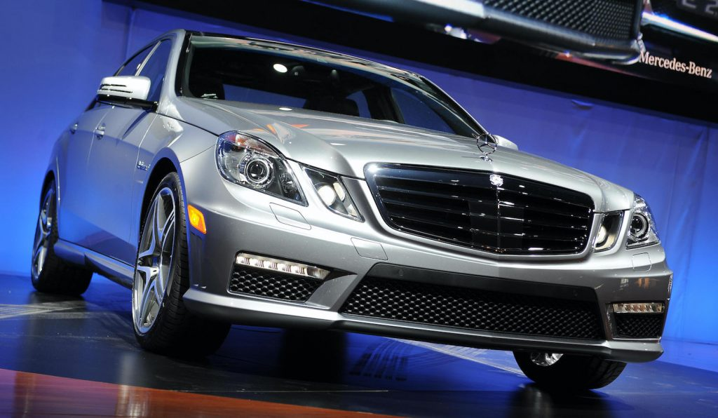 The Distinct Mercedes Benz New E63 AMG is unveiled at the New York International Auto Show April 8, 2009 in New York. AFP PHOTO/Stan Honda (Photo credit should read STAN HONDA/AFP via Getty Images). Arne Toman and Doug Tabbutt set the 2019 Cannonball Record in the same make and model.