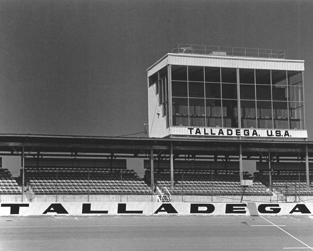 This press box at Alabama International Motor Speedway (now Talladega Superspeedway) which is NASCAR's fastest track. Multiple NASCAR records, including the overall speed record, have been set at Talladega. | ISC Archives/CQ-Roll Call Group via Getty Images