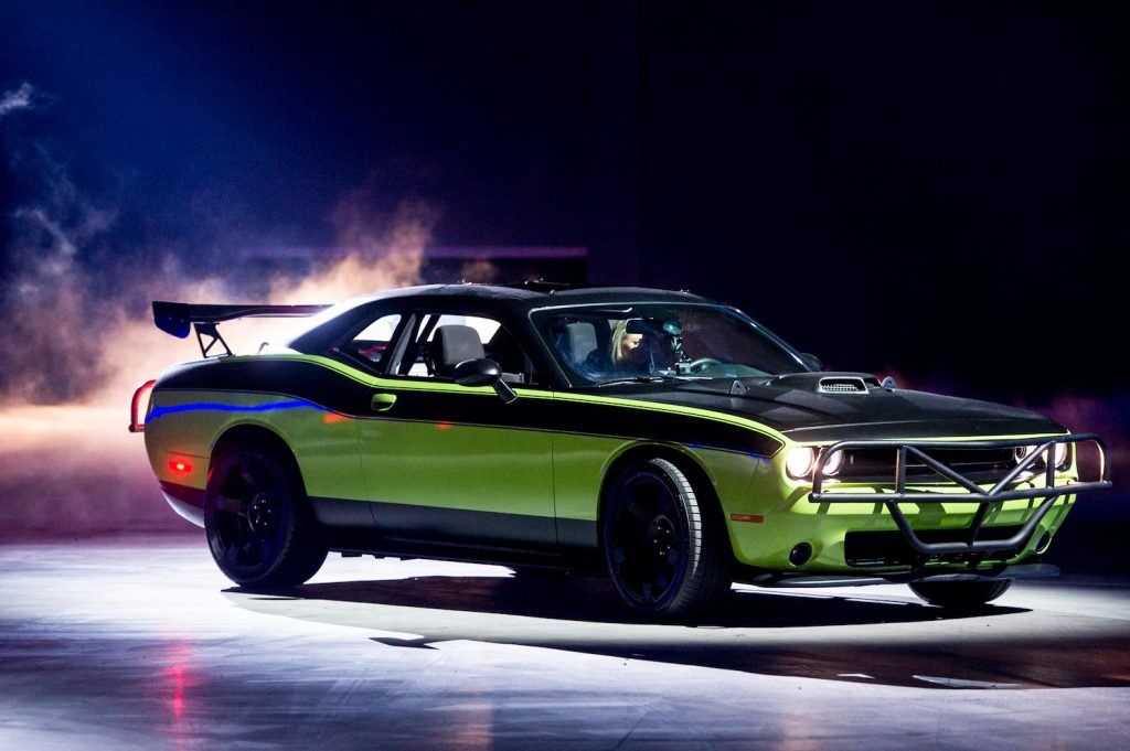 Letty's Off-road Dodge Challenger SRT from Fast & Furious 7. This model was use in the Fast & Furious parachute out of a plane sequence and the realistic bus escape stunt. | Ollie Millington/Getty Images
