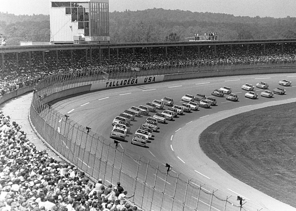 Bill Elliott starts at pole during the 1985 the Talladega 500. The Talladega Superspeedway is NASCAR's fastest track and Elliot's 212 mph record has stood for 35 years | ISC Archives/CQ-Roll Call Group via Getty Images