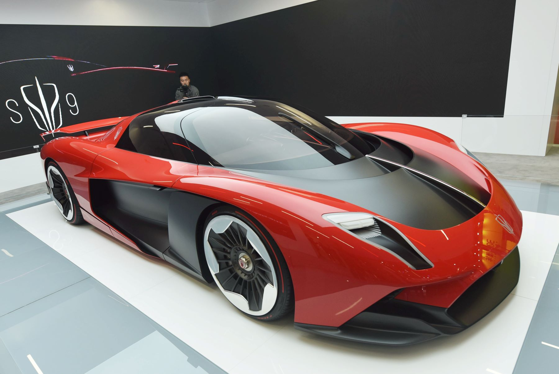 A Hong Qi supercar S9 model with over 1,400 horsepower at the Shanghai Auto Show in China