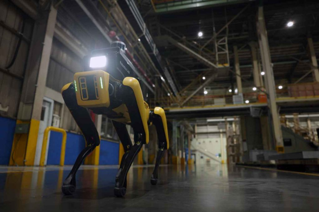 Hyundai Factory Safety Service Robot walking in an open area of a Hyundai automotive plant