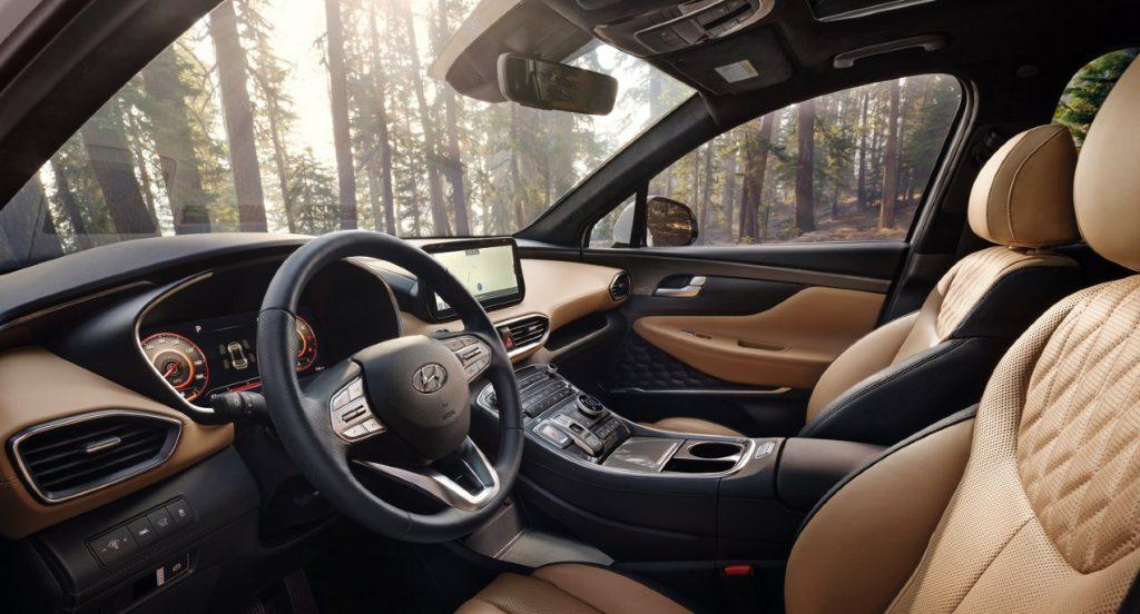 The Hyundai Santa Fe interior.