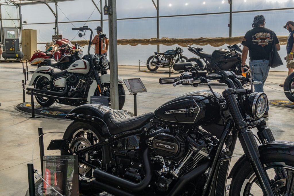 IMS Chicago custom bikes with Yaroslav Lutsenko's custom black 2019 Harley-Davidson FXBB in front