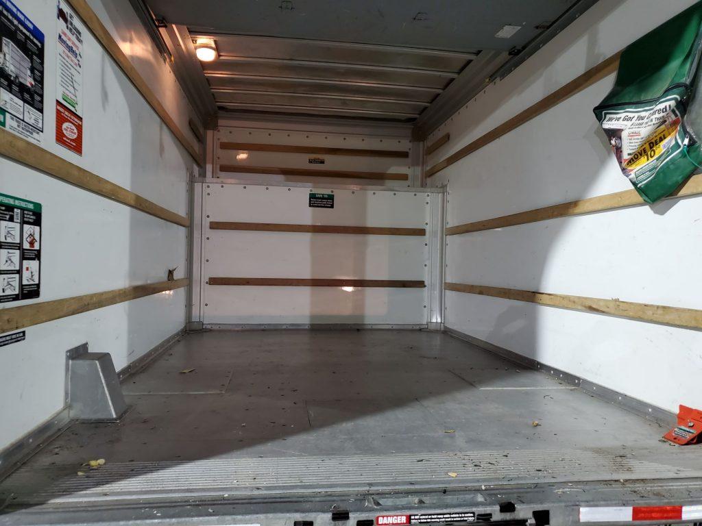 Inside of a box truck.