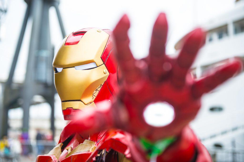 upclose photo of someone dressed up as Iron Man.