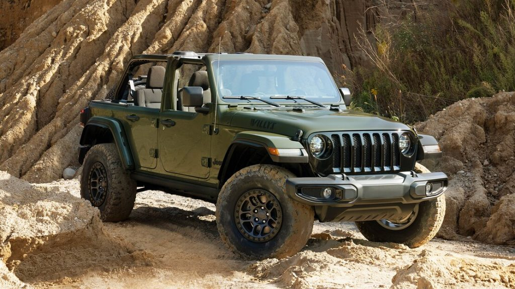 green 2022 Jeep Wrangler Willys Xtreme Recon parked in a desert