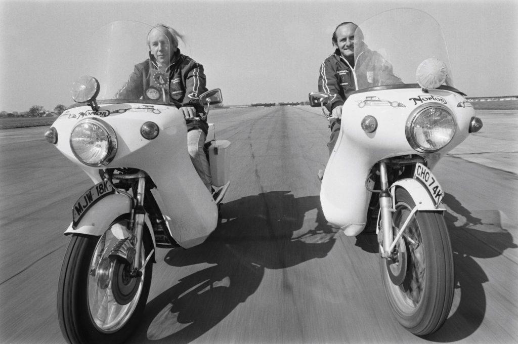 John Surtees (left) and Mike Hailwood on 1973 John Player Norton Commando 750s