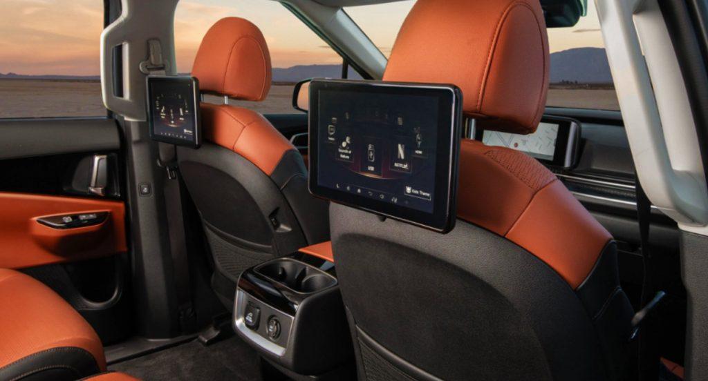 The interior of a Kia Carnival MPV SX Prestige model.