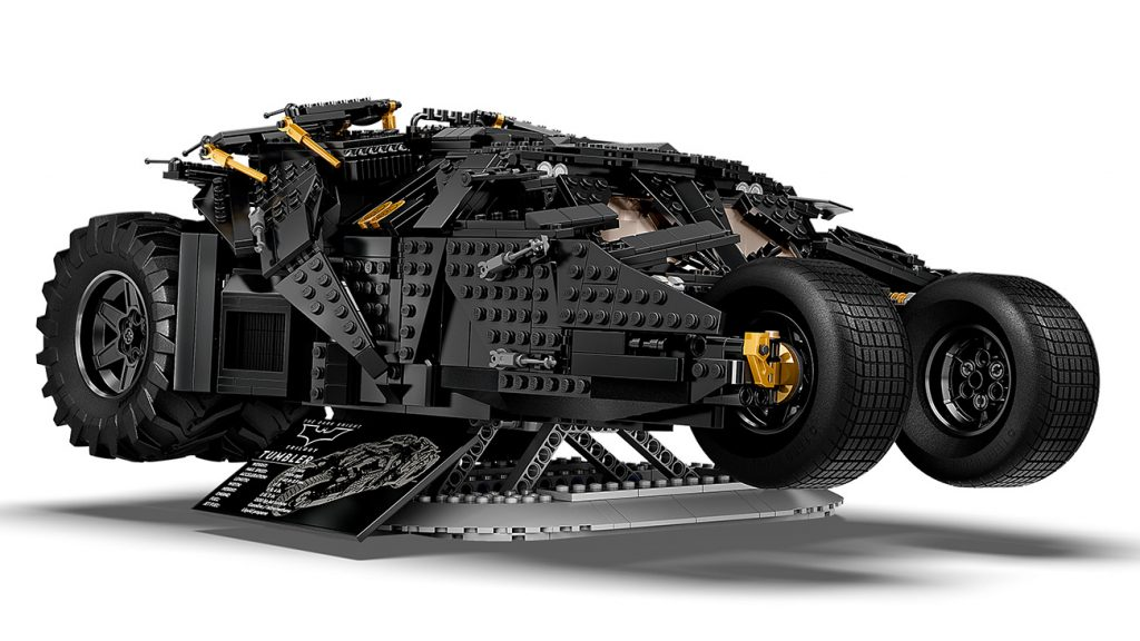 Lego DC Batman Tumbler set on its included pedestal and display plaque.