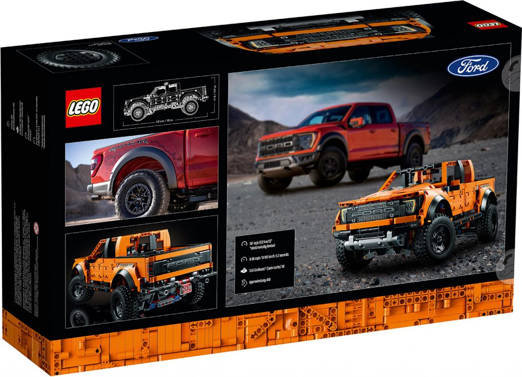 Lego Technic Ford F-150 Raptor set box rear view revealing some of the features that the model can do once it is fully assembled.